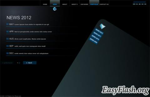 Шаблон сайта Flash template  Myflashxml f4b