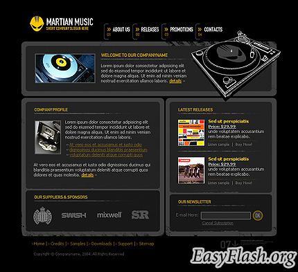 Flash шаблон сайта для музыкального портала