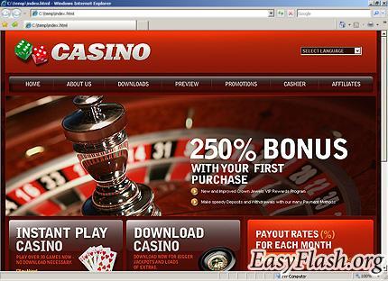 Flash меню и шапка для сайта казино
