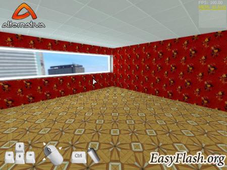 3D квартира, можно менять обои потолок и пол